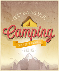 Wall Mural - Summer Camping poster. Vector illustration.