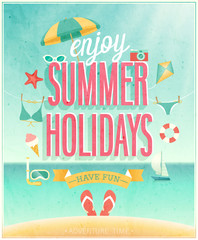 Wall Mural - Summer Holidays poster. Vector illustration.