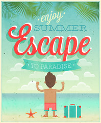 Wall Mural - Summer Escape poster. Vector illustration.