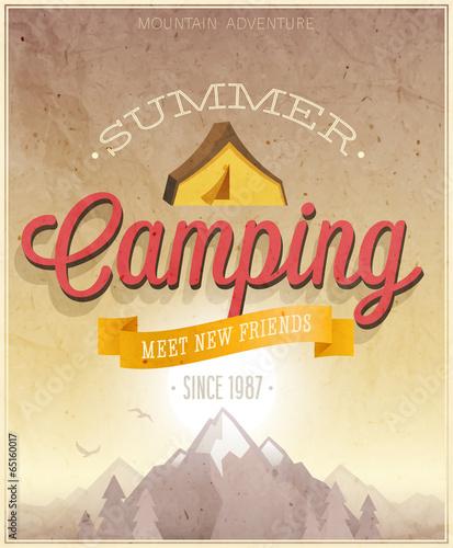 Wall mural Summer Camping poster. Vector illustration.
