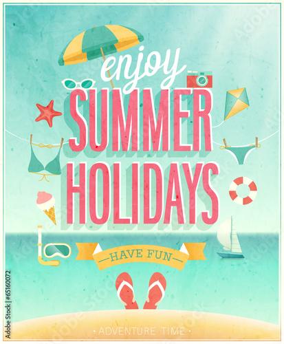 Wall mural Summer Holidays poster. Vector illustration.