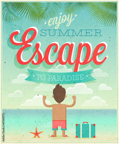 Wall mural Summer Escape poster. Vector illustration.