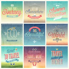 Wall Mural - Travel set - labels and emblems.