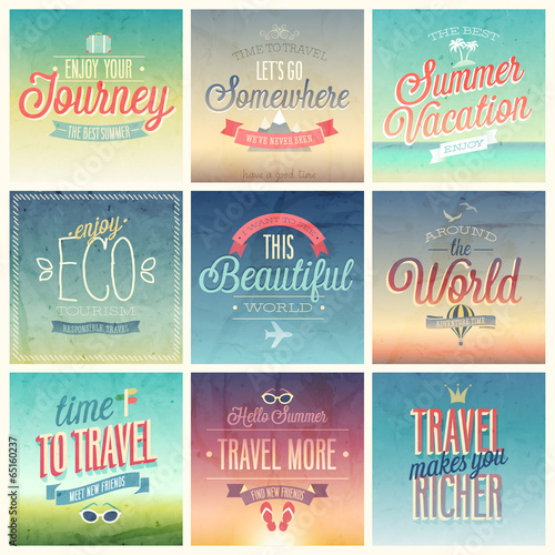 Wall mural Travel set - labels and emblems.
