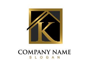 Gold letter K house logo
