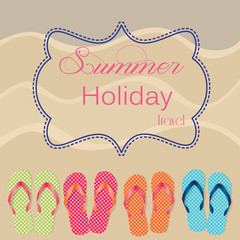 Group of four flip flops or sandals on sandy beach background