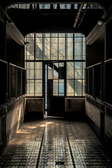 Fototapete - Industrial interior with br light