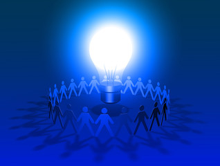 blue big lightbulb shining surrounded by group of people
