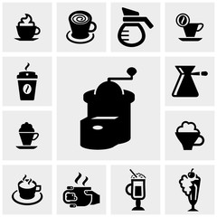 Coffee vector icons set on gray