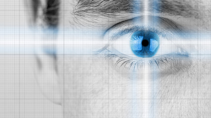 Male eye with radiating light and blue iris