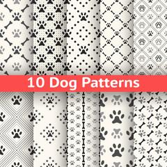 Set of animal seamless vector pattern of paw footprint