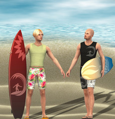 Two young men with surf board.