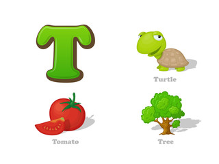 ABC letter T funny kid icons set: turtle, tomato, tree