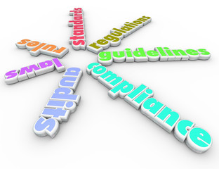 Wall Mural - Compliance Words Spiral Pattern Rules Regulations Laws Guideline