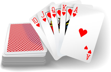 Poker Flush Hearts Cards Deck