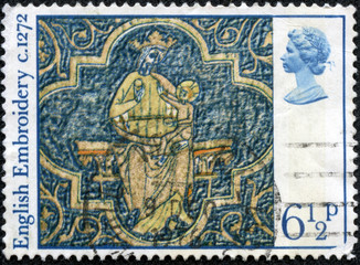 stamp shows Virgin and Child, Clare Chasuble