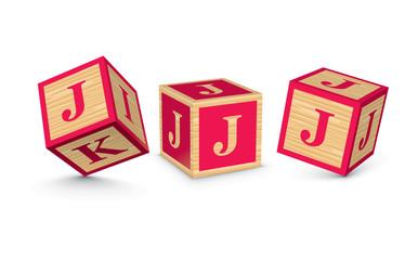 Vector letter J wooden alphabet blocks