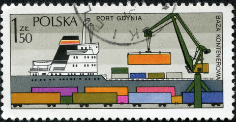 stamp shows Sea port Gdynia - container terminal