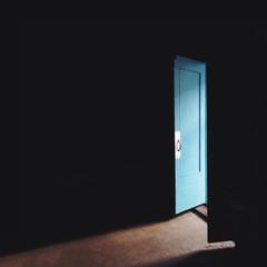 door in dark room