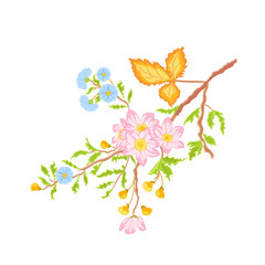 Twig shrub whit spring flowers vector without gradients