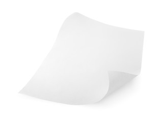 Blank sheet of paper isolated on white with clipping path