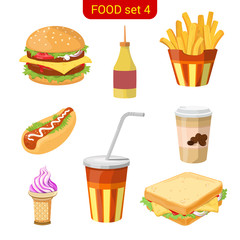 Fast food vector icon set. Burger, fried potato, hot dog, cola.