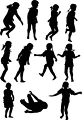 eleven child silhouettes collection isolated on white