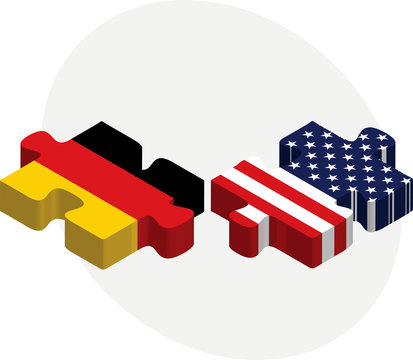 USA and German Flags in puzzle