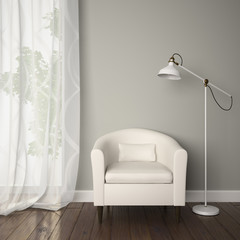 Part of interior with white armchair