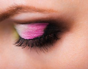 Closeup of womanish eye with glamorous makeup
