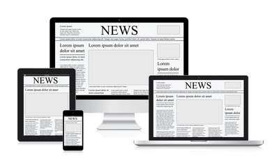 Online news vector illustration computer tablet newspaper