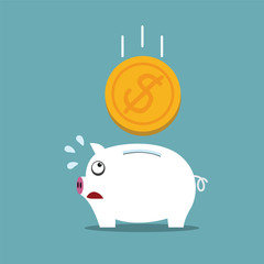 Piggy bank with a big money concept