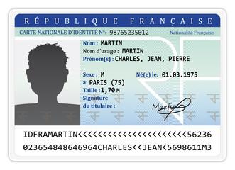 Carte d'identité nationalité française.
