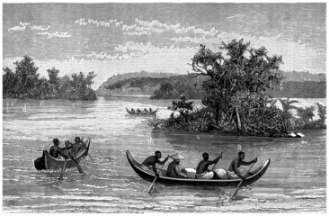 Black Africa :  Canoes on the river