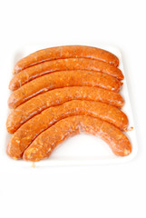 Hot and Spicy Pork Sausage Over White