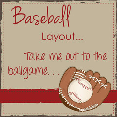 Vintage baseball and glove or mitt layout for scrapbooking