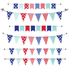 banner, bunting or flags in red white and blue patriotic colors
