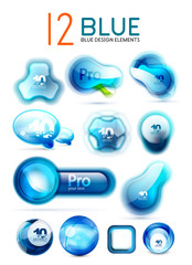 Vector blue icons - web boxes design collection