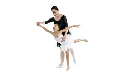 little girl ballerina learning dance lesson with ballet teacher