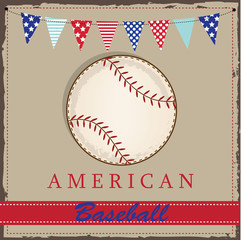 Vintage baseball layout with american patriotic flags or bunting