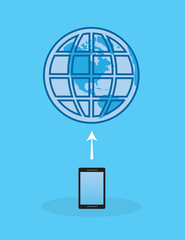 Phone or tablet connected to internet with earth symbol