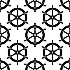 Vintage ships wheel seamless pattern