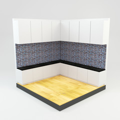 kitchen room with gems stone mosaic