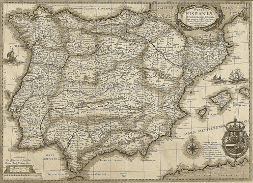 Antique Spain and Portugal map in sepia tone