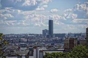 Fototapeta paris roofs and cityview with tour montparnasse
