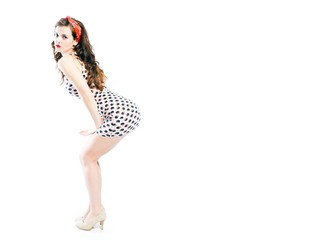 Pretty young woman pin up girl with copyspace