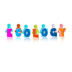 Ecology Colorful Title with Paper People