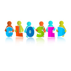 Closed Title with Colorful Paper Cut People