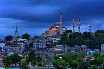 Suleymaniye Mosque in blue evening