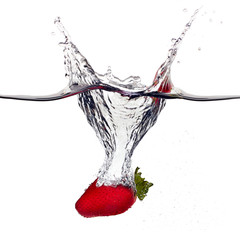 Bio Strawberrie Splash in Water Isolated on White